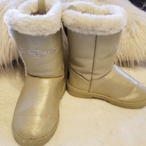 Bebe girls gold ugg style boots